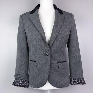 Express Grey Leopard Lining One Button Blazer